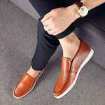 Men's Outdoor Breathable Leather Hole Shoes Sports Casual Shoes