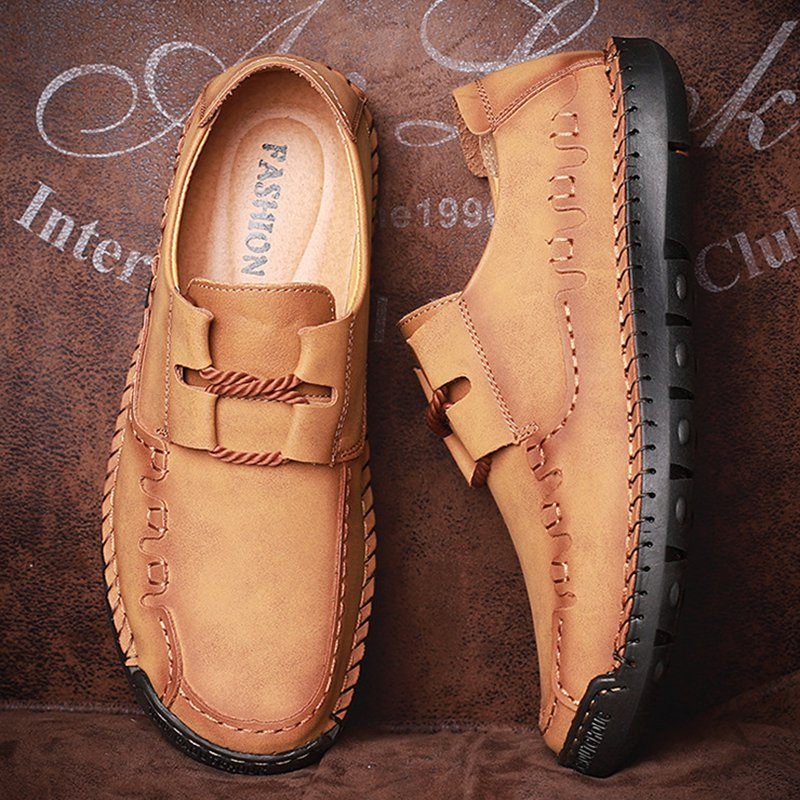 Men's Handmade Comfy Stitching Cow Leather Shoes