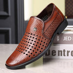 Men Microfiber Leather Non Slip Hole Breathable Business Casual Formal Shoes