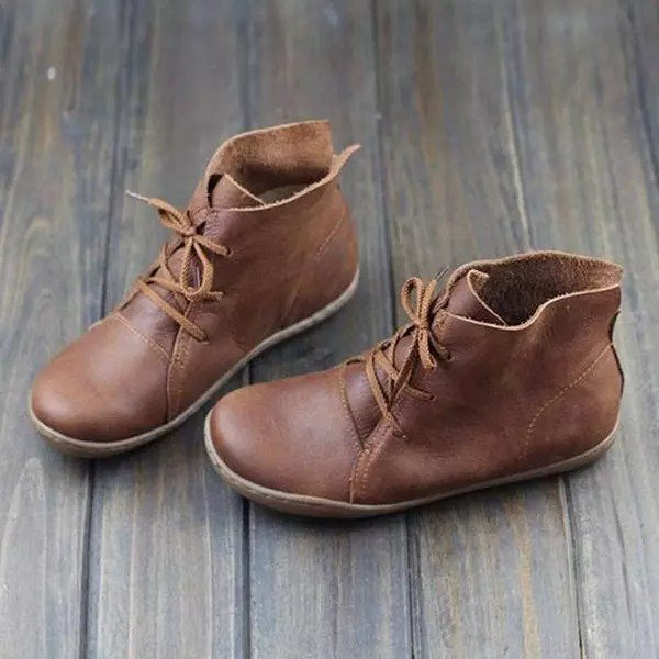 Women Retro Leather Lace Up Flat Daily Boots