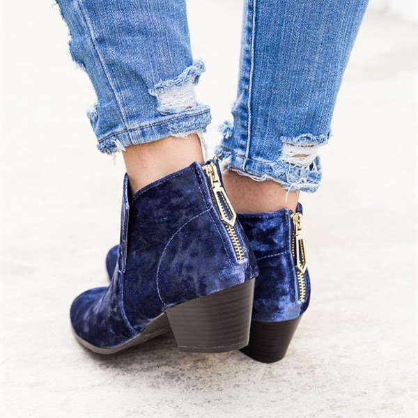 Women Chic Velvet Holiday Chunky Heel Ankle Boots