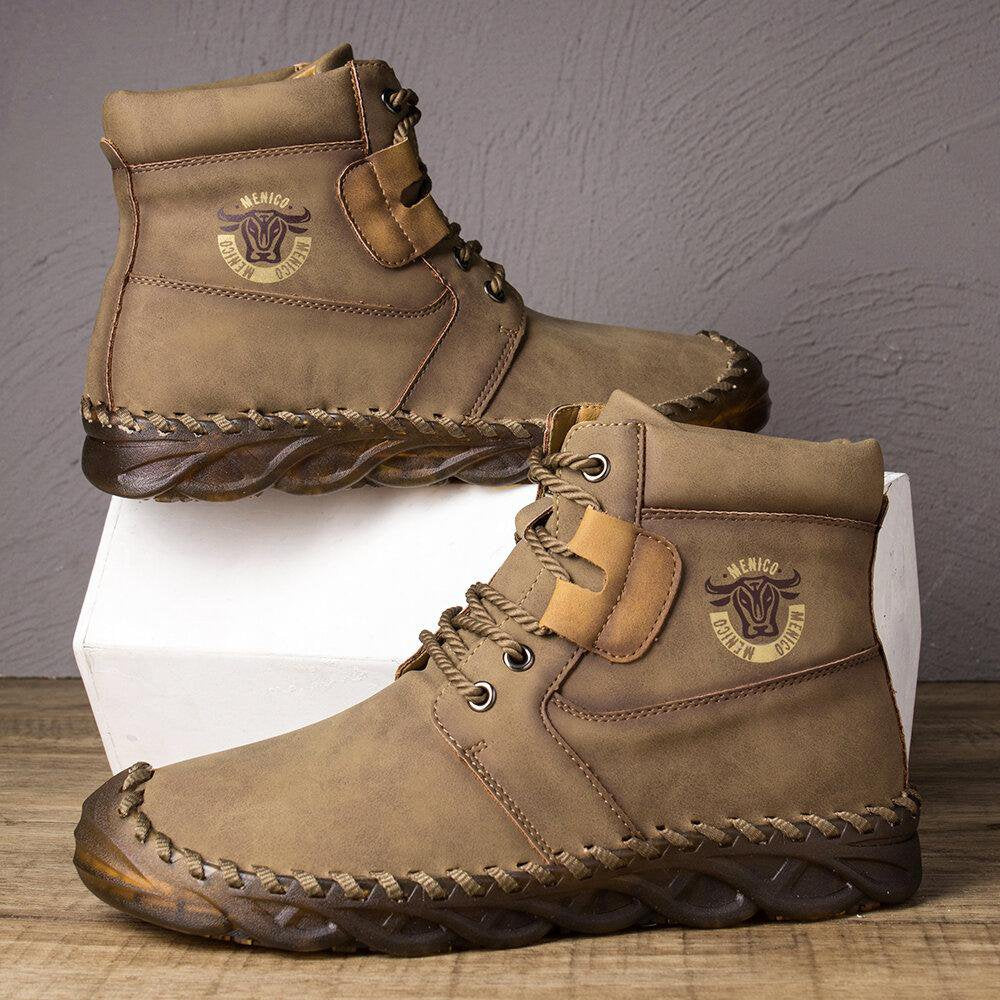 Men Rubber Toe Cap Hand Stitching Outdoor Ankle Boots