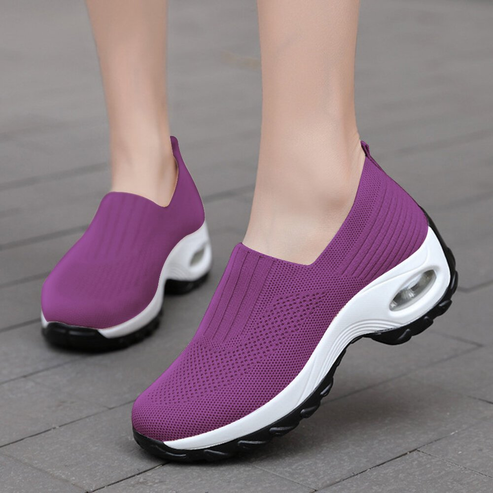Women Outdoor Breathable Knitted Elastic Band Hiking Shoes