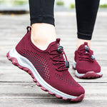 Women Elastic Band Flat Heel Athletic Flyknit Fabric Sneakers