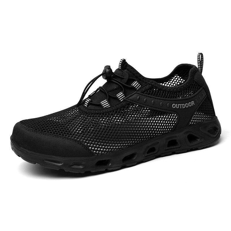 Men Mesh Breathable Elastic Lace Outdoor Casual Water Shoes