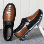 Men Leather Splicing Non Slip Metal Decoration Slip On Casual Shoes