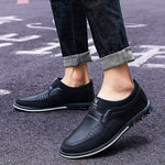 Men Microfiber Leather Splicing Non Slip Slip On Casual Driving Shoes