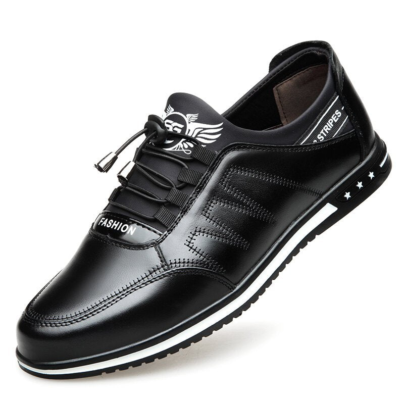 Men Soft Leather Splicing Non Slip Elastic Lace Business Casual Shoes