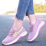 Women Athletic Breathable Flyknit Fabric Flat Lace Up Sneakers