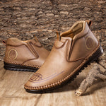 Men Hand Stitching Slip Resistant Soft Sole Casual Leather Boots