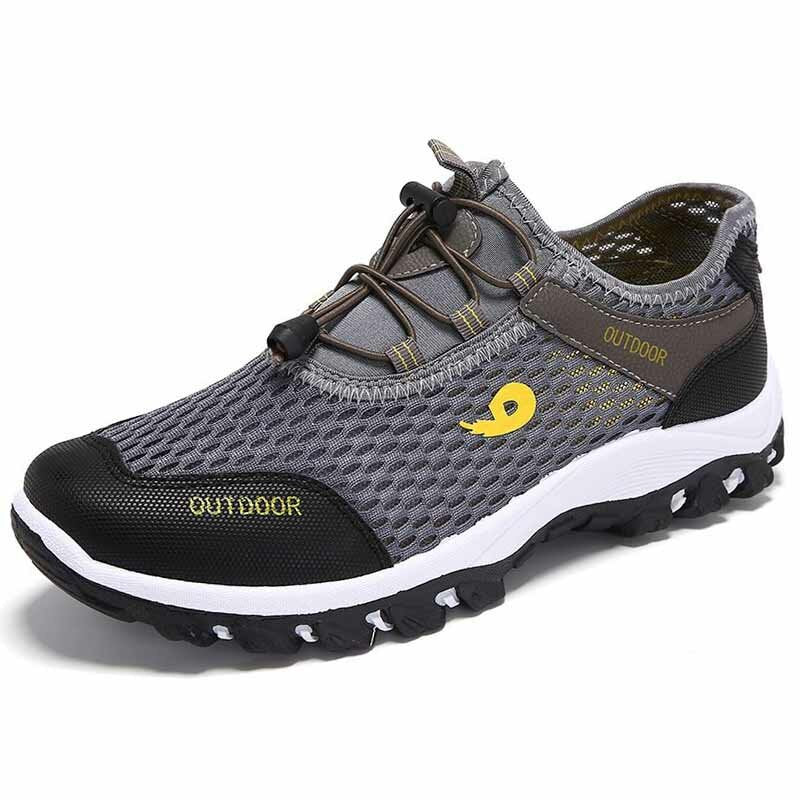 Men Mesh Breathable Outdoor Lace Up Non Slip Water Sport Causal Shoes