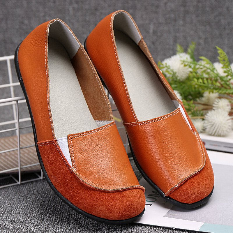 Women Plus Size Suede Leather Slip On Casual Flat Loafers
