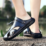 Men Closed Toe Hand Stitching Outdoor Hole Leather Sandals