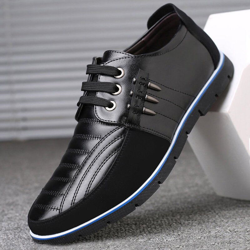 Men Soft Leather Splicing Non Slip Soft Sole Casual Driving Shoes