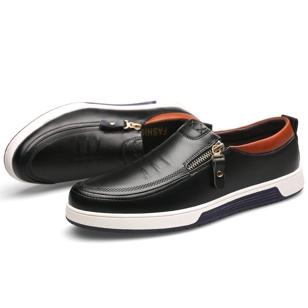 Men Stylish Side Zipper Comfy Soft Sole Slip On Casual Leather Loafers