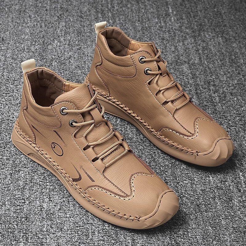 Men Comfy Microfiber Leather Non Slip Handmade Casual Ankle Boots