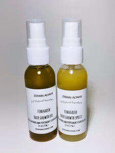 Fenugreek Hair Growth Oil and Spritz with Lavender and Peppermint Essential Oil Set