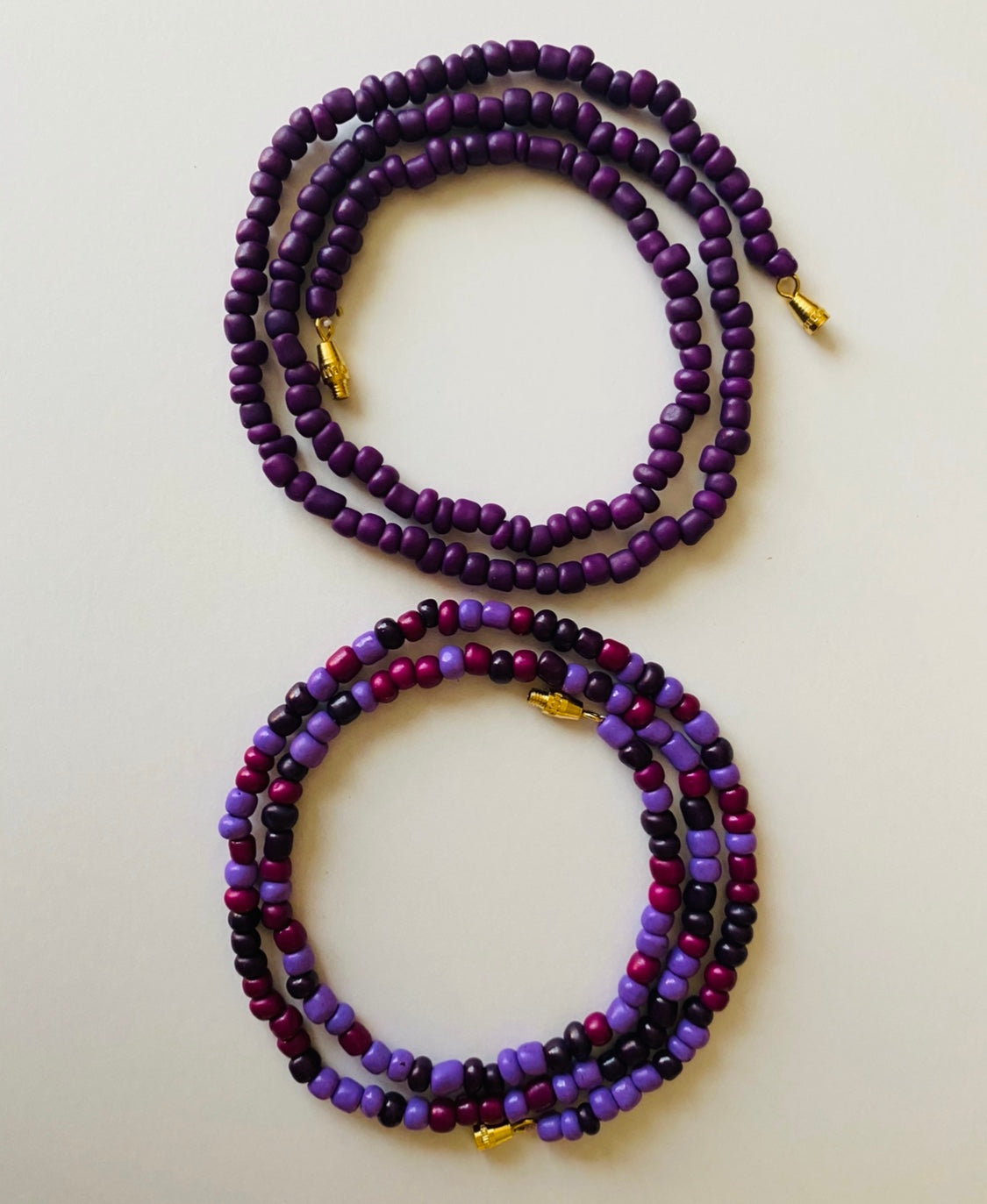 Crown Purple Goddess Waist Beads 2pcs Set