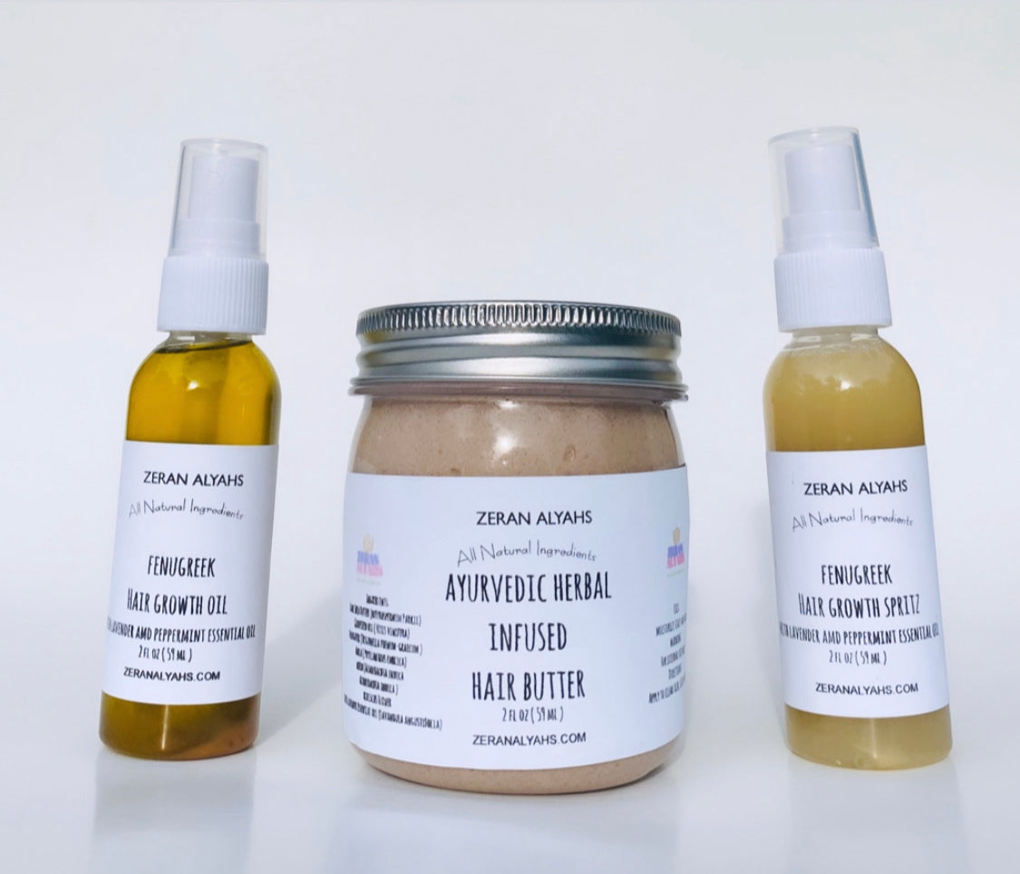 3 Step Moisturizing Kit Ayurvedic Herbal Hair Moisturizing Butter, Fenugreek Hair Growth Spritz and Oil  with Lavender and Peppermint Essential Oill