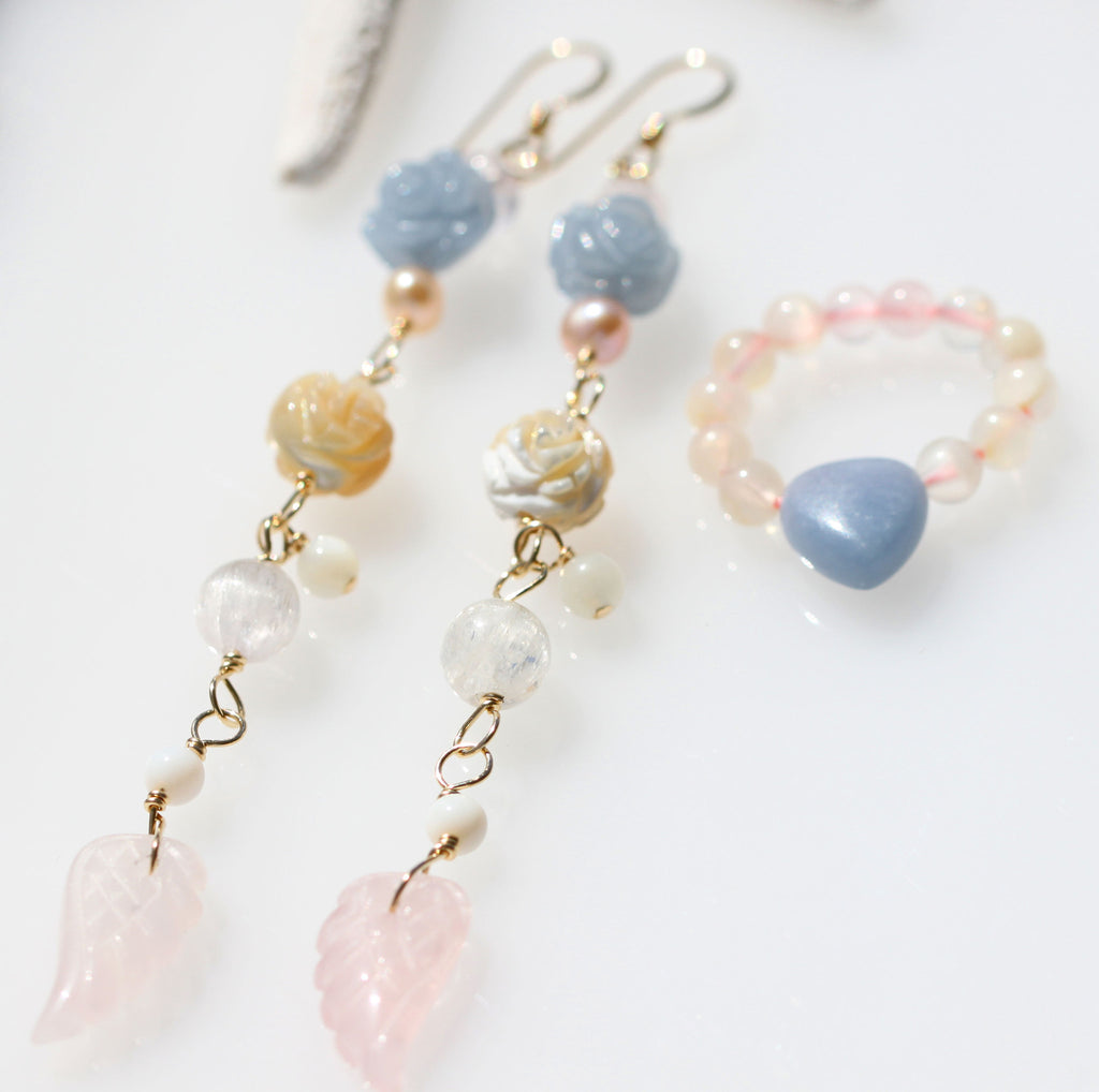 Rose Angelite and pink pearl Angel earrings and ring set☆ローズエンジェライトとピンクパールの天使パワーストーンピアスと指輪のセット