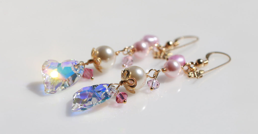 Love heart wedding mermaid earrings☆玉の輿婚☆マーメイドピアス