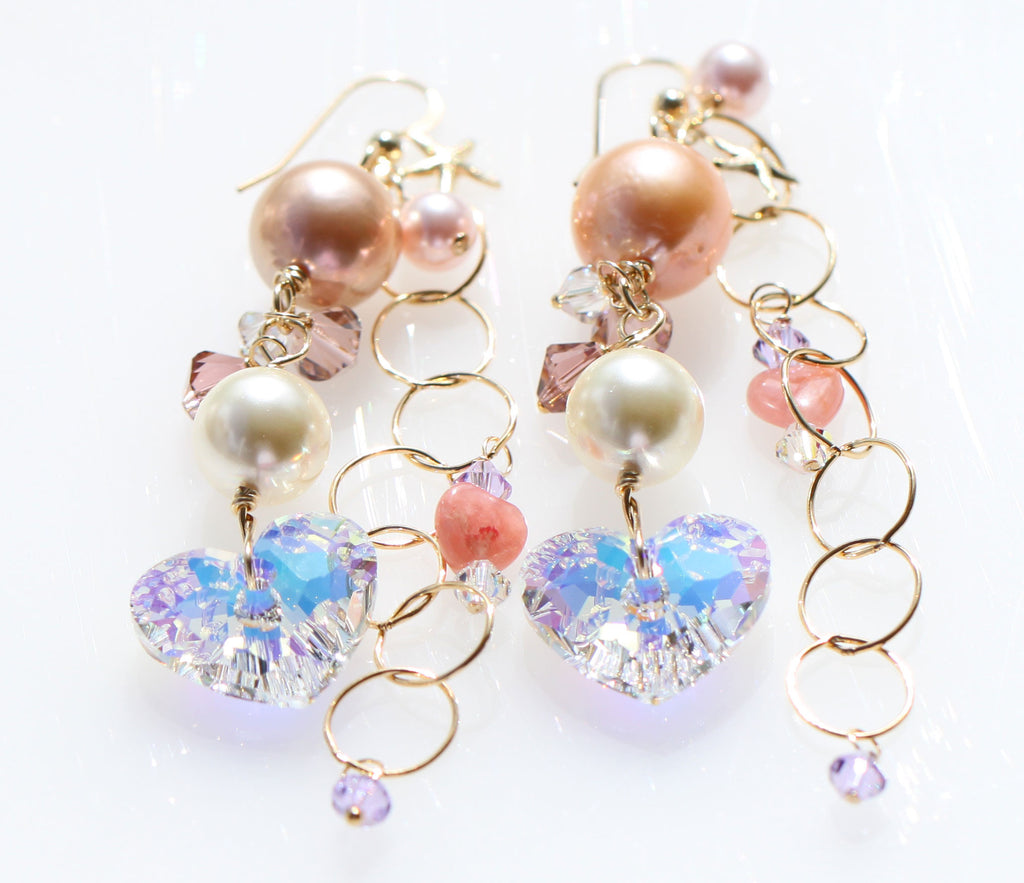 Happy St.Valentine's Day Pink Love Pearl and Heart Mermaid earrings☆ハッピーバレンタイン☆ピンクパールとハートのマーメイドピアス