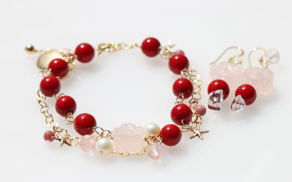 Red Coral Mermaid  Bracelet and Earrings★赤サンゴのマーメイドブレスレットとピアスのセット