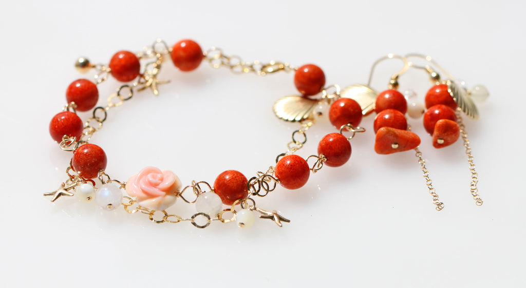Red Coral orange mermaid bracelet and earrings☆赤スポンジサンゴのマーメイドブレスレットとピアスのセット