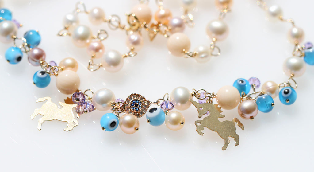 Evil eye protect unicorn necklace☆イーヴィルアイプロテクト☆ユニコーンネックレス