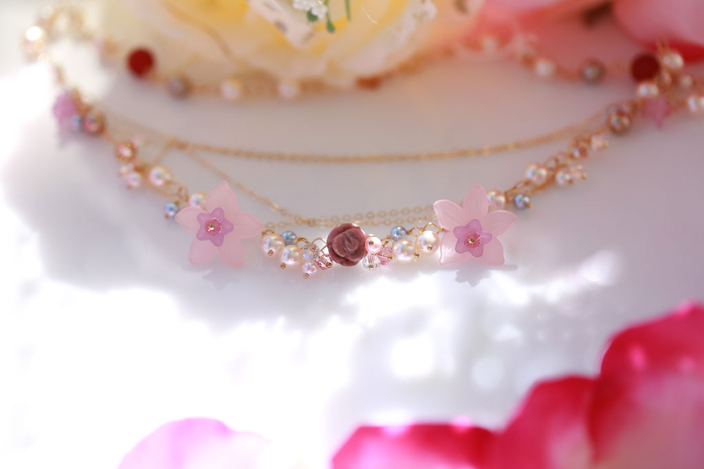 flower fairy pink vegan necklace☆フラワーフェアリー☆ピンクヴィーガンネックレス