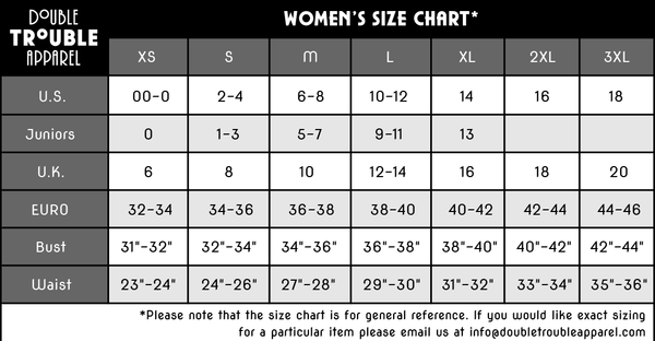 Double Trouble Apparel Official Size Chart International