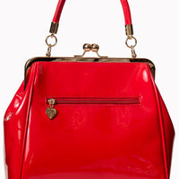 Vintage Style Patent Kisslock Handbag in Red