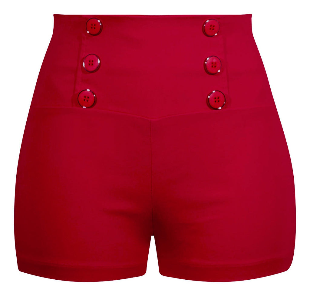 High Waisted Retro Shorts in Red