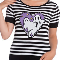Striped Boo Top by Hell Bunny