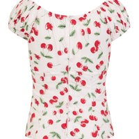 Cherry Pie Sweetie Top in White & Red