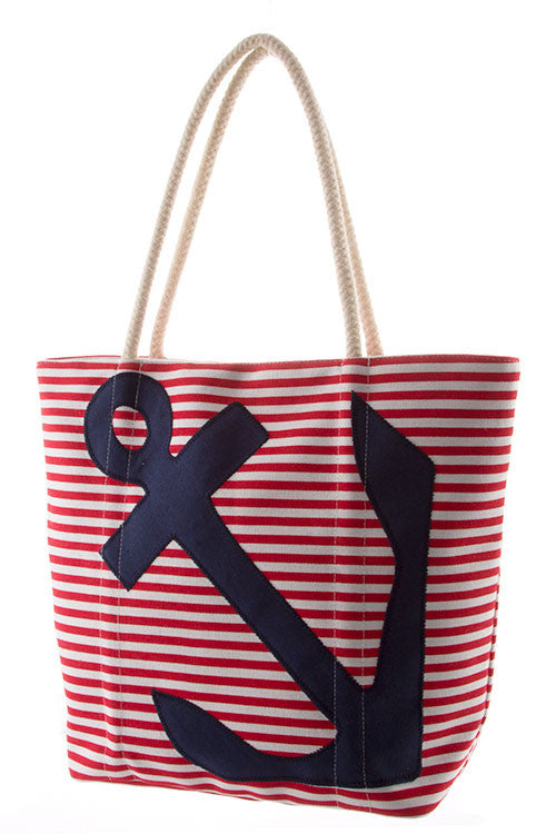 Sailor Striped Anchor Tote Bag
