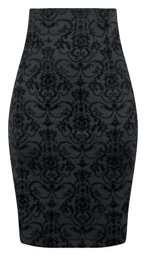 High Waisted Damask Pencil Skirt