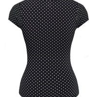 Bombshell Polka Dot Top in Black