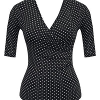 Black Bombshell Polka Dot Top with Half Sleeve
