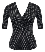 Bombshell Polka Dot Top in Black with Half Sleeve