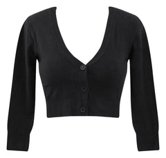 Cropped Cardigan in Black