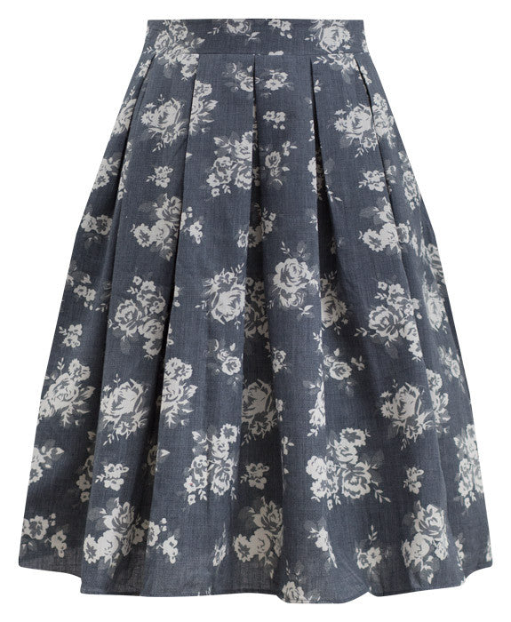 Chambray Rose Floral Swing Skirt with Pockets