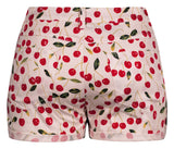 Cherry Pie Retro Shorts in White