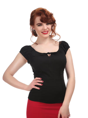 Black Lorena Peasant Top by Collectif