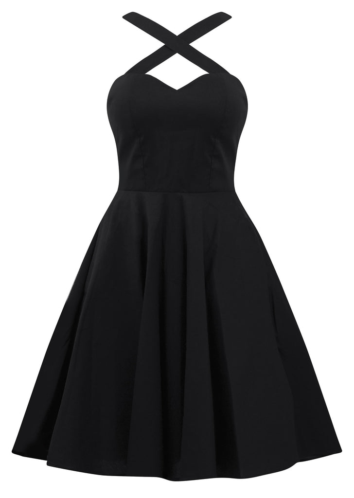 Retro Gal Criss Cross Swing Dress in Black