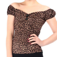 Leopard Print Peasant Style Pinup Top