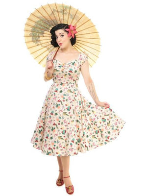 Dolores Doll Dress in Atomic Flamingo Print by Collectif