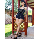 Hollywood Dame Top in Black Polka Dot