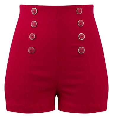 High Waisted Pin Me Up Shorts - Red