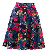Tropical Hibiscus Floral Swing Skirt